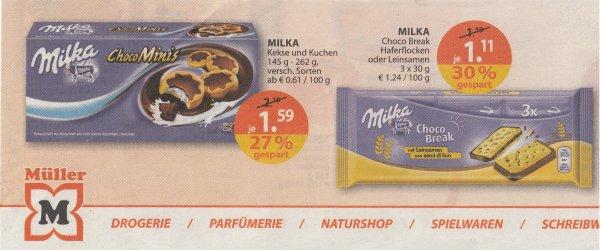 Müller ab 6.7. Milka Kekse und Kuchen 1,59€ statt 2,19€ / Haferflocken-Kekse für 1,11€