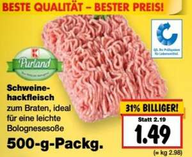 [KAUFLAND (außer BY/BW)] 500g Schweine-Hackfleisch nur 1,49€