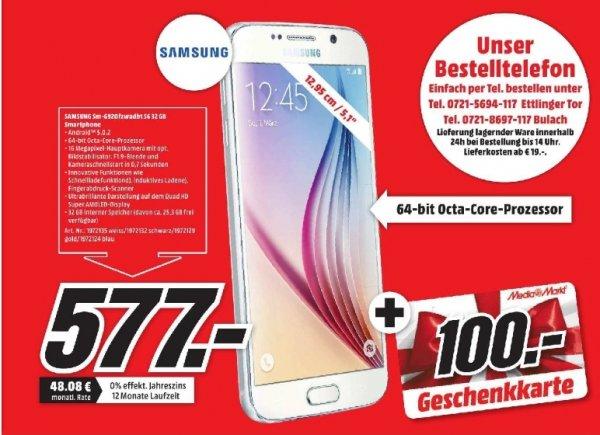 [Lokal Mediamarkt Karlsruhe] Samsung Galaxy S6-32GB schwarz,weiß,gold,blau für 577,-€ + 100,-€ MM Geschenkkarte (effektivpreis 477,-€)