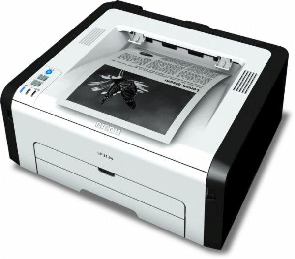 (Office-Partner) RICOH SP 213w Laserdrucker s/w (A4, Drucker, WLAN, USB) für 39,- EUR