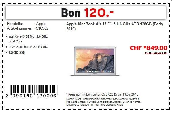 """[SCHWEIZ] Apple MacBook Air 13"""" 2015 (MJVE2SM/A) 811€, idealo 919€"""