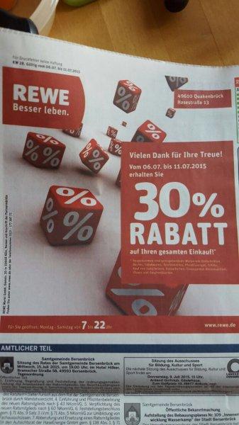 [Lokal Quakenbrück] [REWE] 30% Rabatt auf Alles
