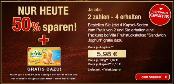 Jacobs™ - 40x Nespresso Kapseln [MHD 10/15] + belVita Frühstückskekse für €5,38 [@Jacobszauber-shop.com]