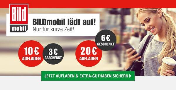 Bildmobil 30% Guthaben geschenkt bei Prepaid Aufladung von 10 oder 20 Euro