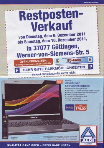 """Restposten Verkauf ALDI NORD Göttingen! Z.B. 15,6"""" MEDION AKOYA P6812 - i3-2330M - 4GB RAM - 750 GB HDD - USB 3.0 - NVIDIA GeForce GT555M für 379€ statt 549€!"""