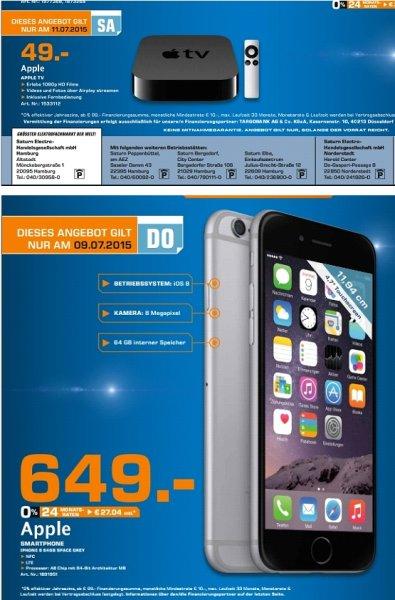 [Lokal Saturn Hamburg Tagesangebote] Am 09.07....Apple Iphone 6 Spacegrau 64GB für 649,-€*****Am 11.07...Apple TV für 49,-€