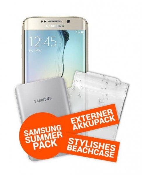Nochmals reduziert! Samsung S6 Edge 32GB + Sommerpaket für 219€ Zuzahlung +19,04€/Monat mit Allnet Flat+500MB Otelo Tarif