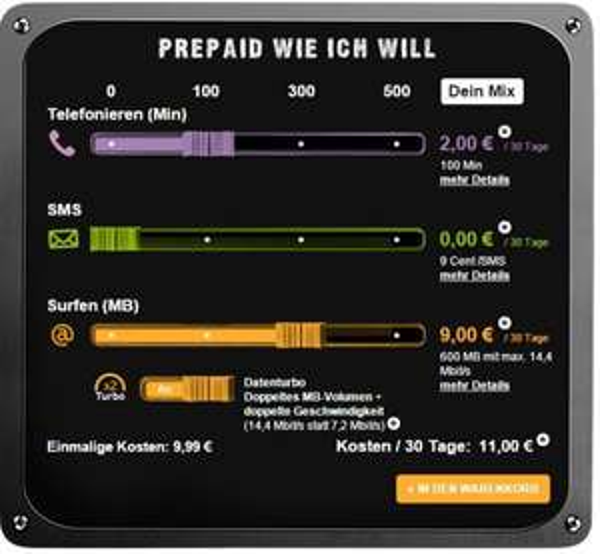 Congstar - Telekom-Netz - 600 MB (14.4 Mbit/s) - 100 min. alle Netze *11€/Monat* [Prepaid]