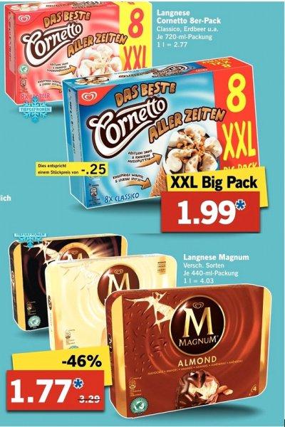 [Lidl ab Montag 13.07] Langnese Magnum Eis, verschiedene Sorten je 440ml Packung für 1,77€****Langnese Cornetto Eis, verschiedene Sorten 8erXXL Pack je 720ml für 1,99€