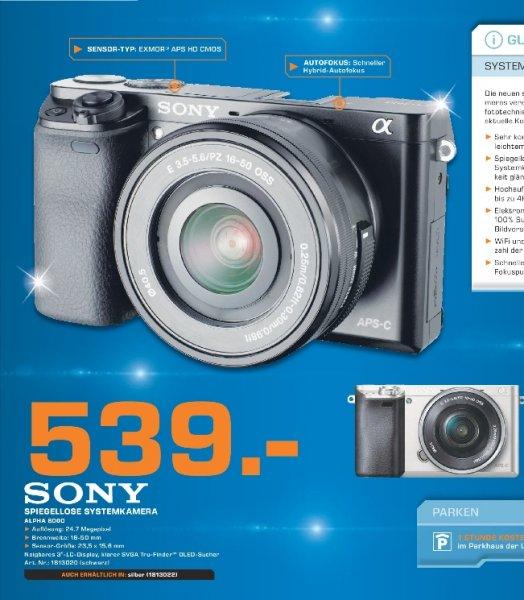 [Lokal Saturn Paderborn] Sony Alpha 6000 inklusive 3,5-5,?6 / 16-50 mm OSS schwarz oder silber für 539,-€