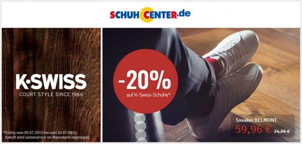 20% auf alle Schuhe der Marke K-Swiss