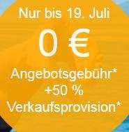 Ebay: 50% Rabatt auf die Verkaufsprovision (10.7.2015 bis 19.7.2015)