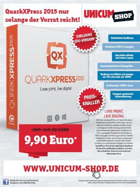 QuarkXPress 2015 EDU (lebenslange Lizenz) für 9,90 Euro statt 169,99 Euro