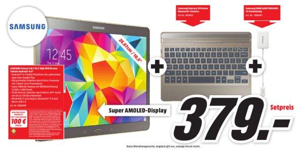 [lokal Mediamarkt Cottbus] Samsung Galaxy Tab S 10.5 incl. Samsung Keyboard Case und Samsung HDMI-Adapter -> 379€ - 100€ Cashback