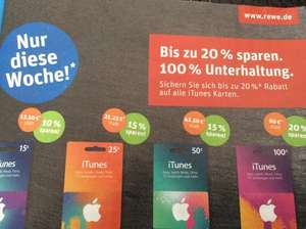 iTunes Karten bei Rewe - bis zu 20% Rabatt