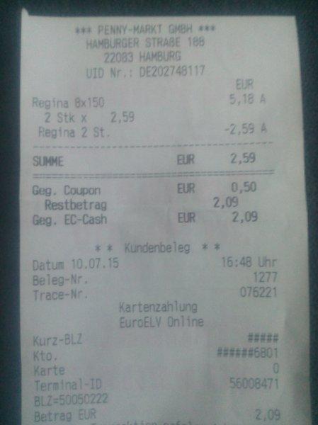[Penny] Regina Toilettenpapier 2x 8x150 Blatt ( 2 Coupon´s) statt 5,18€ für 2,09€