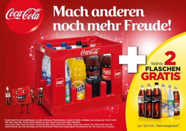 Coca Cola 12x1l +2 Flaschen Gratis 7,99€.Netto ohne Hund.