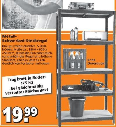 [Globus Baumarkt] Metall-Schwerlast-Steckregal, 5 Böden (je 175kg)  für  19,99 Euro