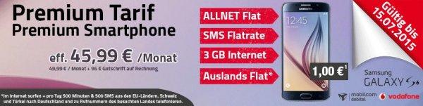 Premium Allnet Vodafone Telefon-, SMS Flat, 3GB LTE, + Auslandflat für 46€ (rechnerisch 23,94€) + Samsung Galaxy S6 (Mobilcom-Debitel)