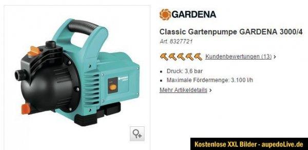 [TPG] Classic Gartenpumpe GARDENA 3000/4 bei OBI 64,99 abzgül. 10% Hornbach Tiefpreisgarantie.