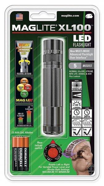 [Amazon-Prime] Mag-Lite XL100-S3096 LED-Taschenlampe XL100 12 cm titan-grau mit 5 Modi, Motion Control u. elektron. Multifunktionsschalter