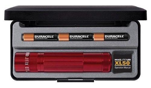 [Amazon-Marketplace] Mag-Lite LED Taschenlampe XL50, 104 Lumen, rot, 12 cm mit 3 Modi und Endkappenschalter, XL50-S3037
