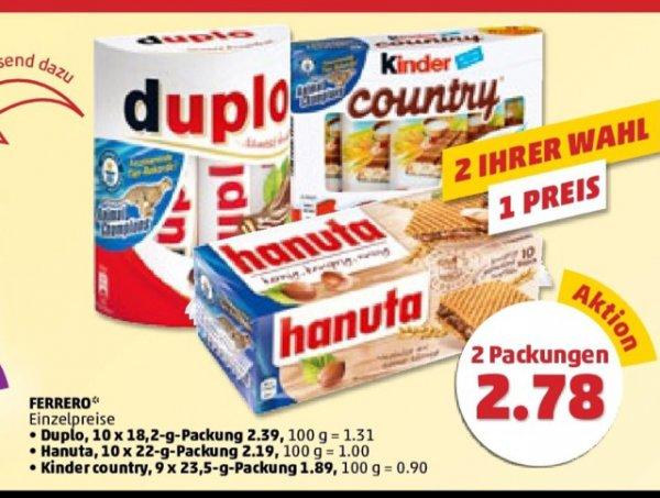 2 Ihrer Wahl 1 Preis (Duplo/Hanuta/Kinder Country) bei PENNY  [Bundesweit]
