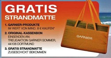 [BUNDESWEIT] Garnier Treueaktion: Gratis Strandmatte beim Kauf von Garnier Produkten im Wert von mind. 8 €* [01.07.2015 - 31.08.2015]