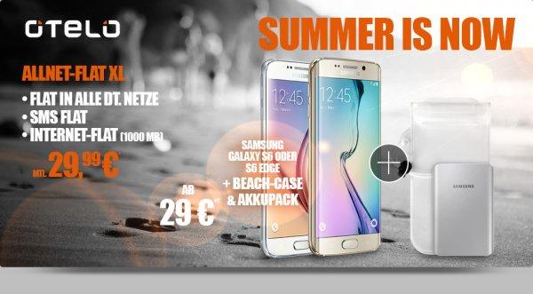 telo Allnet-Flat XL mit Samsung Galaxy S6 oder S6 Edge + gratis Akkupack inkl Beach Case Schützhülle zum OTELO XL Allnet + SMS + 1GB Internet Flat nur 29,99€ mtl