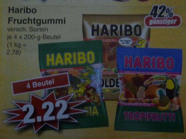 (Lokal) Haribo Fruchtgummi verschiedene Sorten 4 Beutel für 2,22 € = 0,56 € je Packung bei Edeka in Alzenau