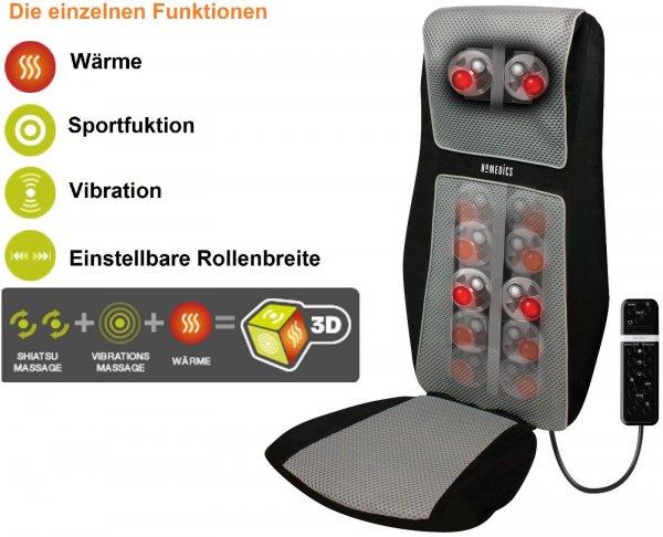 HoMedics SBM-600H-EU 3D Shiatsu Massagesitz integrierter Schultermassage