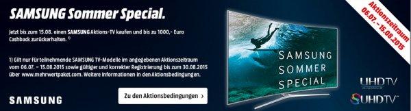 Samsung Sommer Special - bis zu 1000,- € Cashback für euren neuen TV (bis 15.08)