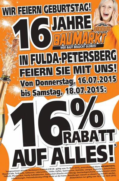 [Lokal Fulda] Globus Baumarkt 16% Rabatt auf alles