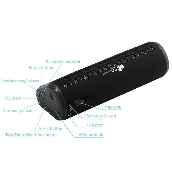 EC Technology® 6W (2*3W) Bluetooth Lautsprecher mit FM Radio, Mikrofon, Freisprecheinrichtung bis zu 5-8 Stunden Spielzeit