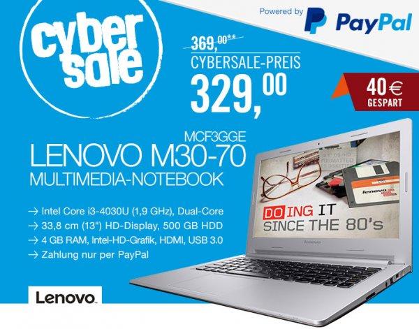 """Lenovo M30-70 - Core i3-4030U, 4GB RAM, 500GB HDD, 13,3"""" matt, 1,5kg, Windows 8.1 - 329€ @ Cyberport"""