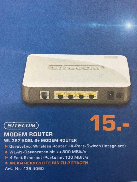 Saturn Berlin/Potsdam Sitecom Modem Router WL 367 ADSL 2+ mit W-Lan für 15 Euro