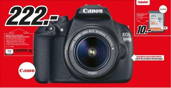 [Lokal Mediamarkt Leinfelden-Echterdingen ab 16.6.] Canon EOS 1200D Kit 18-55 mm Canon IS II für nur 222,-€.Bestpreis