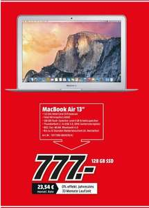 "[[Lokal Mediamarkt Leinfelden-Echterdingen] Apple MacBook Air 13,3"" 1,6 GHz Intel Core i5 4 GB 128 GB SSD (MJ­VE2D/A) zum Bestpreis von 777,-€"