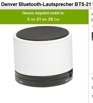 Denver Bluetooth-Lautsprecher BTS-21 Weiß@Voelkner Prima Day 5,55 € (19,99 MBW für die Versandkostenflatrate 60 Tage)