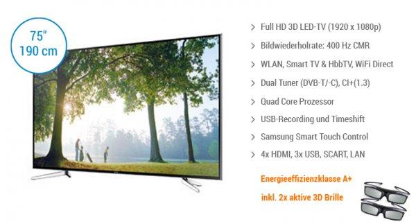 [redcoon.de] Samsung UE75H6400 (3D-LED-TV, Full-HD, DVB-T/-C, 400 Hz) für 2.199,00 €, Vergleichspreis: 2499,99 €