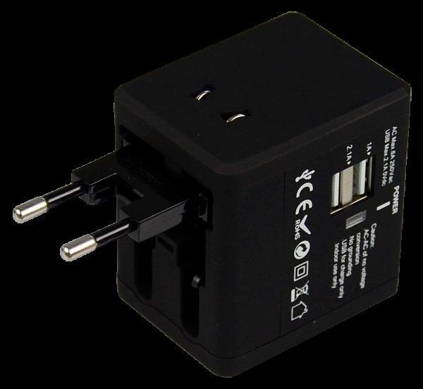 FSP Universeller Reiseadapter NT580, Konvertiert Anschlüsse (UK / US / AUS / EU) zu mehr als 150 Ländern; mit 2 eingebauten USB Ports (5V/2.1A, 5V/1A),