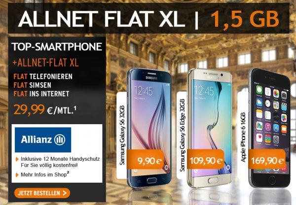 otelo AllNet Flat XL mit Samsung Galaxy S6/ S6 Edge (auch iPhone 6) @limango (tophandy) inkl. 12M Versicherung für eff. 29,36 (S6 32) - 41,82 (S6 E 128)