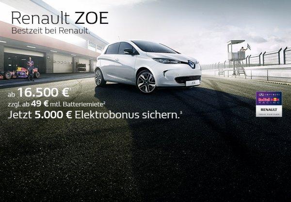 Renault ZOE - 5.000,- Elektrobonus verlängert bis zum 31.08.2015