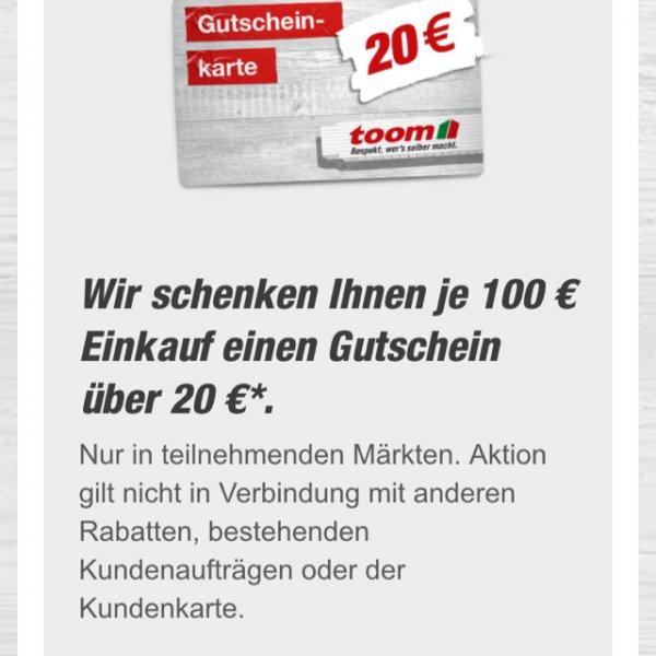 Toom Baumarkt: 20 € Gutschein je 100 € Einkaufswert (nur Freitag, 17.07)
