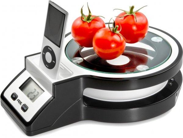 [KRÜMET] IPod Küchenwaage bis 5000g / 1g Einteilung / mit Lautsprechern und Ladefunktion