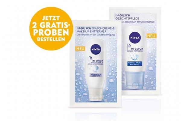 2 Gratisproben von Nivea | In-Dusch Waschcreme & Make-up Entferner + Gesichtspflege