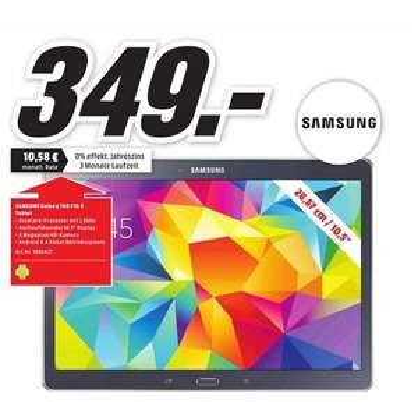 [LOKAL - Mediamarkt Velbert] Samsung Tab S 10.5, wifi 16GB Charcoal Gray für 349 Euro