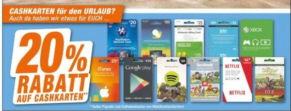 [Lokal Expert Octomedia Rastatt und Bühl] 20% auf ALLE Cashkarten....PSN Store, Itunes,Goggle Play..etc....Ausnahme Paysafe und Cashkarten von Mobilfunkbetreibern