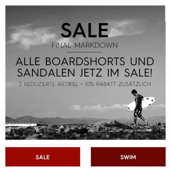 Quicksilver online: Bademode zum Teil bis zu 43,3% Rabatt bei Kauf von 3 Teilen