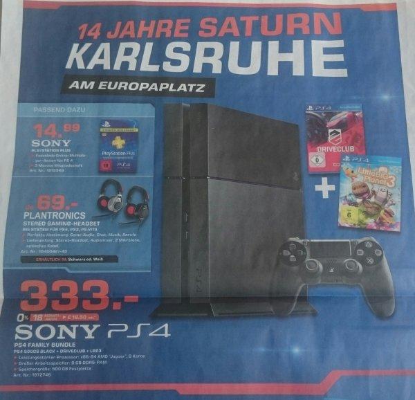 [Lokal Saturn Karlsruhe Europaplatz] PS4 500GB mit 1.Controller + Driveclub + LittleBigPlanet3